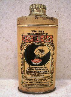 Vintage Denture Adhesive Powder Tin by redopalooza on Etsy, $11.00
