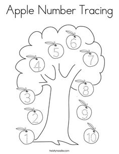 Apple Number Tracing Coloring Page - Twisty Noodle Apple Coloring Pages, Number Tracing, Printing Practice, Apple Prints, Back To School Supplies, Boom Boom, Kids Prints, Coloring For Kids, Mini Books