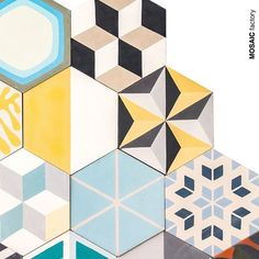 Hexagonal patchwork cement tiles with a mix of different patterns and colours. Available in stock Hexagon Patchwork, Patchwork Patterns, Concrete Tiles, Different Patterns, Tile Patterns, Tile Design, Quilt Making, Pattern Wallpaper, Abstract Pattern