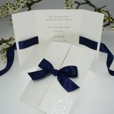 Verona Navy Blue Wedding Invitations