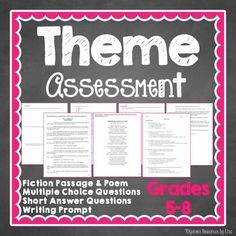 Test with two text, MC questions, short answer questions and writing prompt.