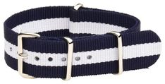 20mm Nato Ss Nylon Striped Navy Blue / White Interchangeable Replacement Watch Strap Band