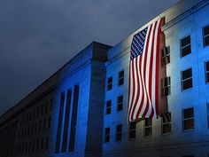 size: Photographic Print: A Memorial Flag Is Illuminated On the Pentagon by Stocktrek Images : 9 11 Anniversary, Patriots Day, September 11, Student Teaching, Teaching Resources, Pentagon, Social Studies, Like4like, Blog