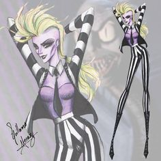 The Tim Burton Fashion Collection by Guillermo Meraz - Beetlejuice Tim Burton Stil, Tim Burton Kunst, Tim Burton Art, Tim Burton Films, Mode Halloween, Halloween Costumes, Alien Costumes, Disney Halloween, Fashion Design Drawings