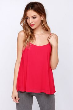 LULUS Exclusive Bel Air Baby Berry Pink Tank Top: The sun is out and the water is warm so lounge by the poolside in this tank. Berry pink chiffon flows from gathering at a scoop neckline down to a fluttering wide-cut hem, creating an alluring scoop cut in the back. Adjustable spaghetti straps allow you to customize your fit with gold hardware. Lined. Hand wash cold XS $31.00
