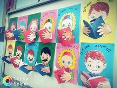 Dia do livro reading bulletin board School Projects, Projects For Kids, Art Projects, Kindergarten Art, Preschool Art, Classroom Displays, Art Classroom, Kids Crafts, Arte Elemental