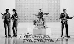 gif the beatles sixties Paul McCartney john lennon ringo starr george harrison She Loves You