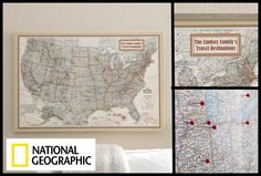 We LOVE the idea of keeping track of all the amazing places you've been or places you want to travel too! PMall has the National Geographic® Executive Canvas Map of the US or of the World and you can personalize it to say anything you'd like ... it even comes with the pins to help you keep track of the places you've traveled! It's just $129.95 - great gift idea for adventurers! #Map #Travel