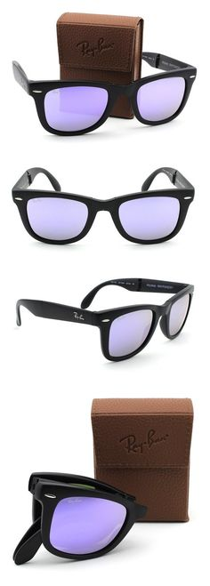 8af500090 Amazon.com: Ray-Ban RB4105 601S4K Wayfarer Folding Matte Black Frame / Lilac  Mirror Lens 50mm: Clothing