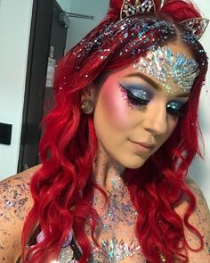 """81 Likes, 18 Comments - Elisha Jane (@unleished_artistry) on Instagram: """"Mardi Gras is a time for love, colour and lots of glitter ✨❤️ #makeup #makeupbyme #glitter…"""""""