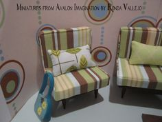 1:6th Scale Barbie, Blythe, etc. Miniature dollhouse Chair and pillow upholstered in striped fabric