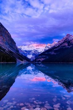 Lake Louise just before sunrise - Banff National Park, Canada