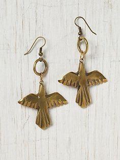 Native Bird Earring: Handmade from reclaimed materials