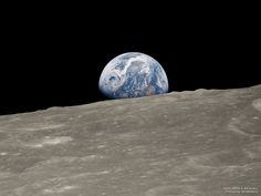 """Earthrise Historic Image Remastered December 2018 via NASA """"Oh my God! Look at that picture over there! Here's the Earth coming up. Programme Apollo, Alpha Centauri, Moon Orbit, The Blue Planet, Astronomy Pictures, Nasa Space Pictures, Space Photos, Powerful Pictures, Nasa Photos"""
