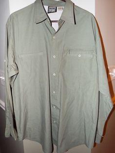 Destination 10,000 ft above sea leavel vented mens shirt size XL, Green #Destination10000 #ButtonFront