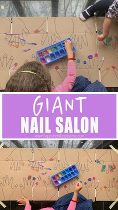 GIANT Nail Salon : A fun fine motor art activity! Paint nails in this GIANT nail salon for kids! Here is a GIGANTIC list of GIANT indoor kids activities to do with your toddler or preschooler indoors. From letters to sensory to art and more. Preschool Learning Activities, Indoor Activities For Kids, Infant Activities, Preschool Crafts, Crafts For Kids, Nanny Activities, Babysitting Activities, Activities For 4 Year Olds, Summer Activities For Preschoolers