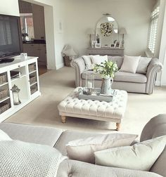 Beautiful grey throw from Dusk and grey wicker basket with cushions. living room layout with tv Coastal Living Rooms, Living Room Grey, Living Room Interior, Home Living Room, Living Room Designs, Living Room Decor, Shabby Chic Grey Living Room, Living Room Layouts, Living Room Ideas Uk