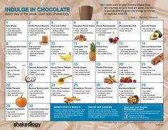 Shakeology Recipe Calendar - Chocolate #shakeology #recipes