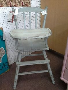 $79 - This vintage high chair is solid wood with removable tray. Painted and distressed and have a dark wax hand applied. ***** In Booth C1 at Main Street Antique Mall 7260 E Main St (east of Power RD on MAIN STREET) Mesa Az 85207 **** Open 7 days a week 10:00AM-5:30PM **** Call for more information 480 924 1122 **** We Accept cash, debit, VISA, Mastercard, Discover or American Express