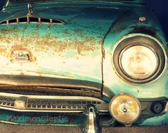 Classic Car Austin Blue Green Vintage Car Fine by Maximonstertje, $30.00