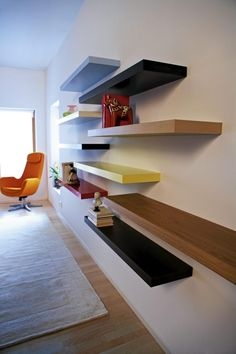 ikea lack shelves - multicolored and staggered