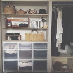 クローゼットの棚  前は服を置いてたけど、今は物置き場になって使う物・使わない物を適当に置いてます☺︎ そのお隣にはたゆさんお気に入りの箱ハウス  茶色い塊が彼女です。笑