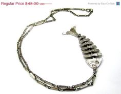 1940's chain fish pendant.  $40.80