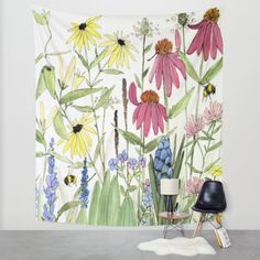 Buy Flowers on White Painting  Wall Tapestry by Between The Weeds. Worldwide shipping available at Society6.com. Just one of millions of high quality products available.