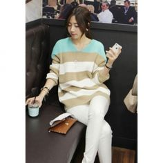 Charming V-Neck Stripes Color Block Loose Fit Long Sleeves Cotton Thread Cardigan For Women
