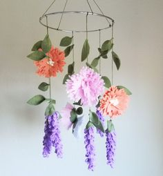 BEAUTIFUL peony and lavender felt crib mobile ❤ www.etsy.com/listing/462260438/peony-and-lavender-felt-crib-mobile-felt