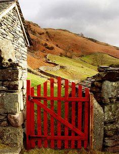 a red gate.