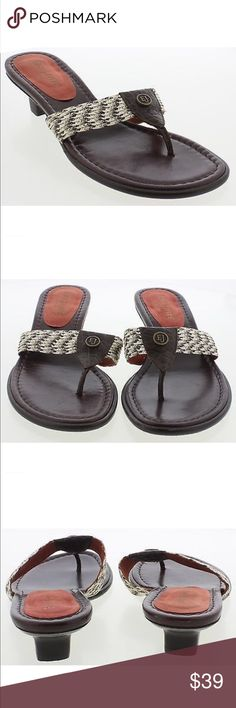 """ERIC JAVITS Sandalwood A beautiful pair of slip-on sandals made of rafiki weaving straps and all around leather insole and outsole. Approx. 2"""" heels. (EUC) Excellent used condition. A quality sandal made in Italy. Please feel free to ask any questions. Thanks for looking. 😍 Eric Javits Shoes Sandals"""