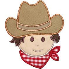 Cowboy Head Applique Machine Embroidery Digital by HappyApplique