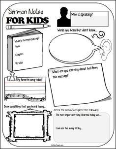 http://christianhomeschoolhub.com/pt/Sermon-Notes-for-Kids/wiki.htm