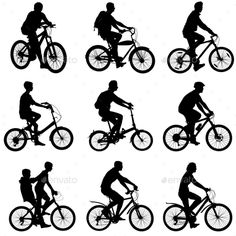 Set Silhouette Of a #Cyclist Male And Female - #Sports / #Activity #Conceptual #silhouettes #people #characters #isolated #illustration #vector #template