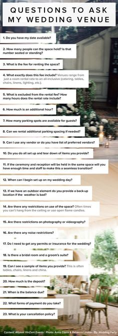 It's a great idea to send this via email to potential venues, or ask this questions over a phone interview, then compare them later. I love it!: