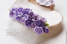 Купить Гребень с цветами из полимерной глины - сиреневый, светло-сиреневый, гребень для волос, гребень