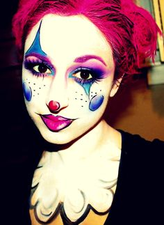 Cartoon Girl Clown by Jessica Rembish (ohsojess) - Halloween Makeup, Mehron, SFX, Special Effects, Face Paint