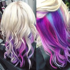 Hair, blonde with pink, blue and pink hair, pink blonde hair, pink ombr Purple Blonde Hair, Blue And Pink Hair, Purple Hair Highlights, Purple Wig, Blonde With Pink, Teal Hair, Hair Color Purple, Cool Hair Color, Pink Peekaboo Hair