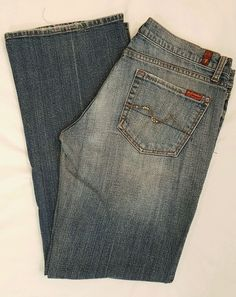 7 For All Mankind medium distressed denim bootcut jeans SZ 31 L32 #7ForAllMankind #BootCut #womens #jeans #distressed