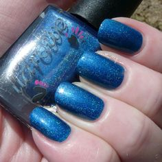 Smokey Mountain Memories by Pointless Cafe - Bright royal blue scattered to linear holo #colorsbyllarowe #cbl #llarowe #holographic  #nail #polish #blue