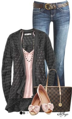 Love the simple sweater and color of tank. I like the color of jeans and style of shoes.