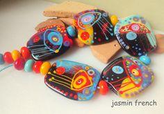 jasmin french ' medusas ' lampwork focal beads set glass art bracelet
