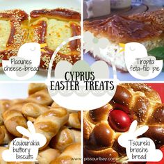 Cyprus #Cypriot #Easter baked treats - yum! #HolyWeek traditions: kitchens exude the tempting smells of #Easter baking such as #Flaounes (cheese bread), #Tsoureki (brioche-style sweet bread), #Koulourakia (buttery biscuits), #Tiropita (feta-filled filo parcels), and #Paskies (mini meat pies). Photos: MyGreekDish, MyArtofCookingandBaking, DishMaps. Post and graphic: Nikki at www.pissouribay.com.