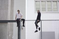 Billy Bultheel and Franziska Aigner in Anne Imhof's <i>Faust</i> (2017).German Pavilion, 57th International Art Exhibition – La Biennale di Venezia ©Photo Nadine Fraczkowski, courtesy: German Pavilion 2017 and the artist.
