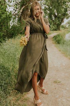 Beautiful Bridesmaid Dress - Modest Wrap Maxi Dresses | ROOLEE Olive Green Bridesmaid Dresses, Beautiful Bridesmaid Dresses, Modest Bridesmaid Dresses, Olive Green Dresses, Stunning Dresses, Modest Dresses, Trendy Dresses, Casual Dresses, Summer Dresses
