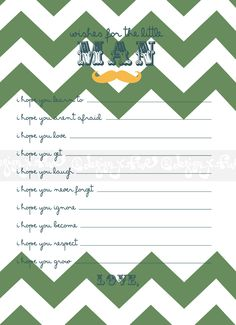 One of my favorite color themes for my BABY WISHES design!  Printable Baby Shower Game - Wishes for the baby boy - Chevron - Customize - Mustache - Baby Shower Activity - Shower Decor -Digital File  On sale for $7.55 until Sept 5 2013 >> https://www.etsy.com/listing/152713114/printable-baby-shower-game-wishes-for?ref=shop_home_active