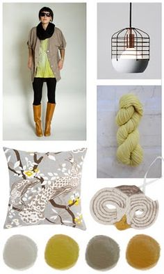 lime, #colortrend, decorating, fashion, toss pillow, yarn, color palette, lamp, gray, ochre, birds, cherry blossom, tree, boots, gray, olive, greige