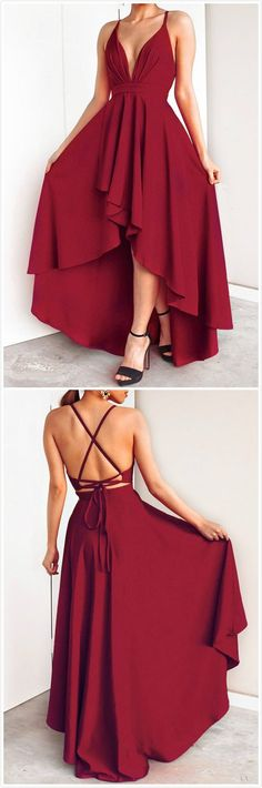 Gorgeous A Line V-Neck Cross Back Burgundy High Low Prom Dresses Elegant Evening Party Dresses Fashion Dresses Trendy Dresses, Grad Dresses, Elegant Dresses, Dress Outfits, Fashion Dresses, Party Dresses, Chiffon Dresses, Red Bridesmaid Gowns, High Low Evening Dresses