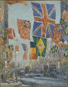 The only major American Impressionist to depict the home front during World War I, Hassam produced his Flag series, some thirty canvases representing Manhattan's Fifth Avenue and adjacent streets decorated with patriotic emblems, from 1916 to 1919